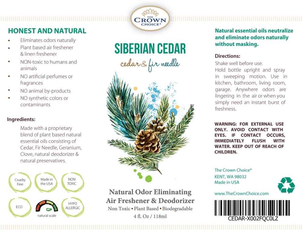 the crown choice cedar natural oil spray ingredients label