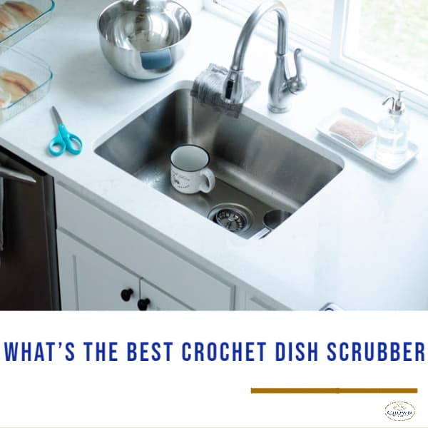 what's the best crochet dish scrubber? cup, stainless mixing bowl, blue scissor and dish scrubber on the sink