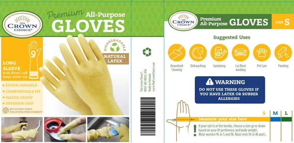 Long Biodegradable Latex Soft Rubber Gloves — Long and Thick All Purpose for Cleaning, Dish Washing and Hand Protection 12