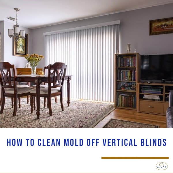 How to Clean Mold off Vertical Blinds: Dining room with white vertical blinds
