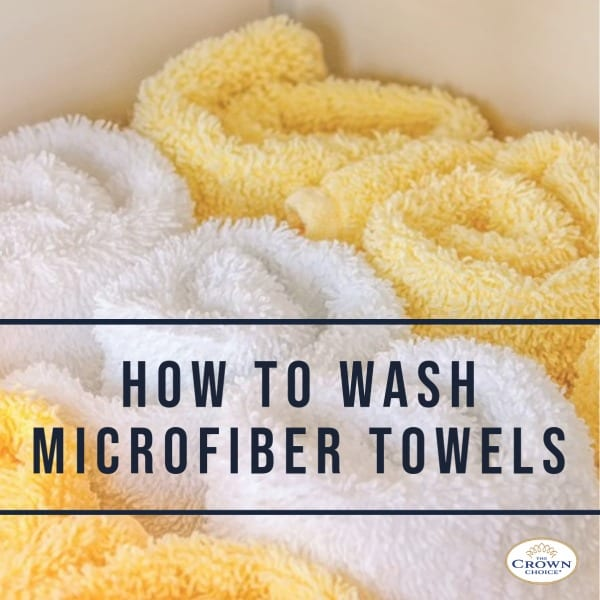 How to Wash Microfiber Towels: Set of yellow and white microfiber towels