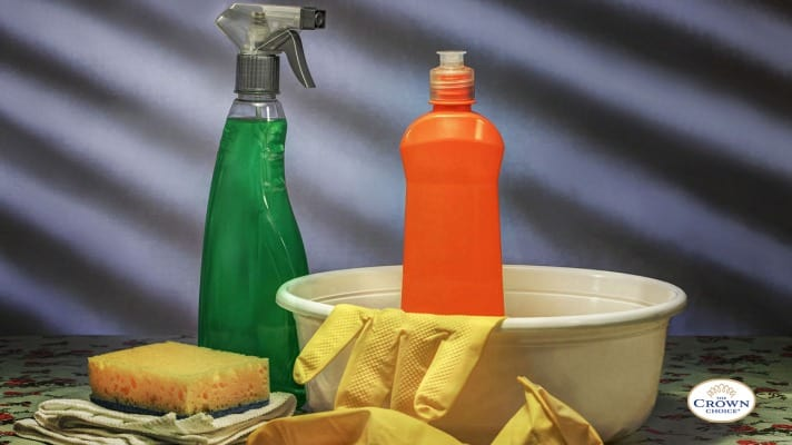 Natural grout Cleaner using different cleaning solutions and tools like bleach, cleaning gloves. cleaning spray. cleaning sponge