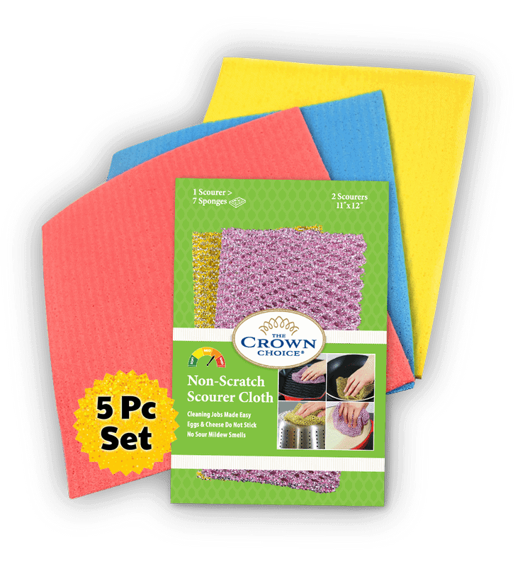 non scratch scourer and sponge cloth set
