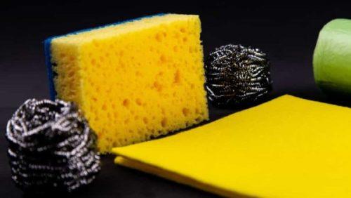 sponges metal scrapers and swedish dish cloths