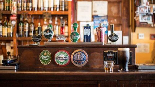 beer bottles in bar