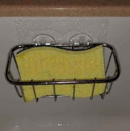 customer photo double sponge holder sticker adhesive kitchen sink