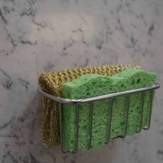 BEST Double Sponge Holder for Sink - Uses Detachable Adhesive 4