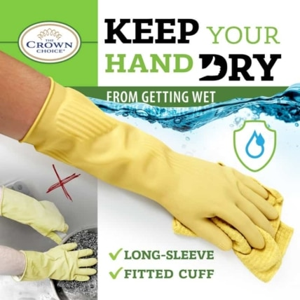 Long Biodegradable Latex Soft Rubber Gloves — Long and Thick All Purpose for Cleaning, Dish Washing and Hand Protection 5
