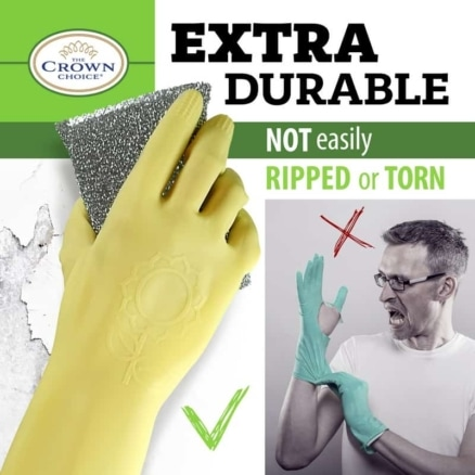 Long Biodegradable Latex Soft Rubber Gloves — Long and Thick All Purpose for Cleaning, Dish Washing and Hand Protection 4