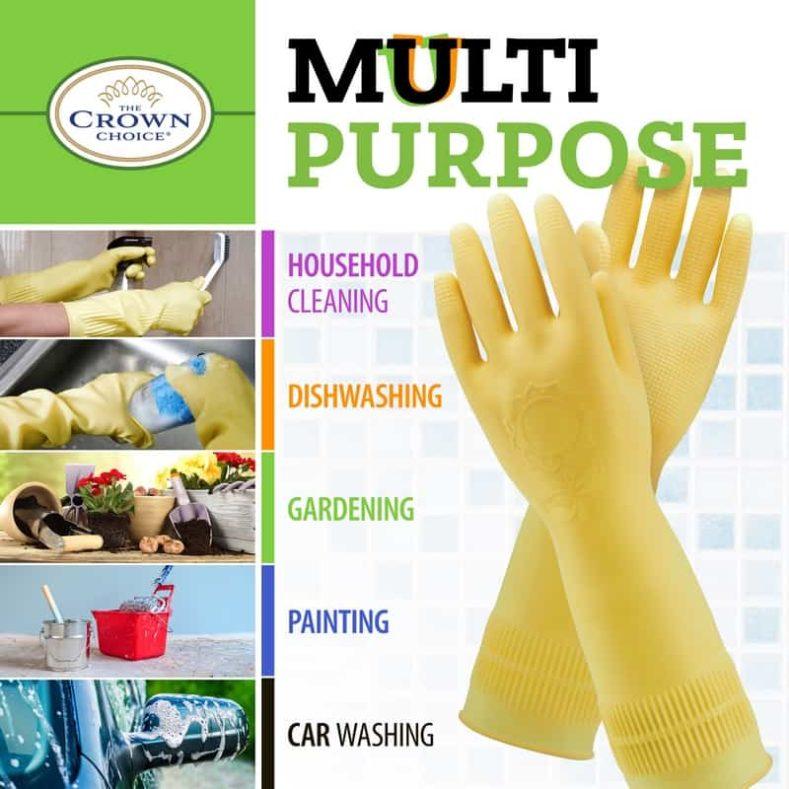 Long Biodegradable Latex Soft Rubber Gloves — Long and Thick All Purpose for Cleaning, Dish Washing and Hand Protection 7