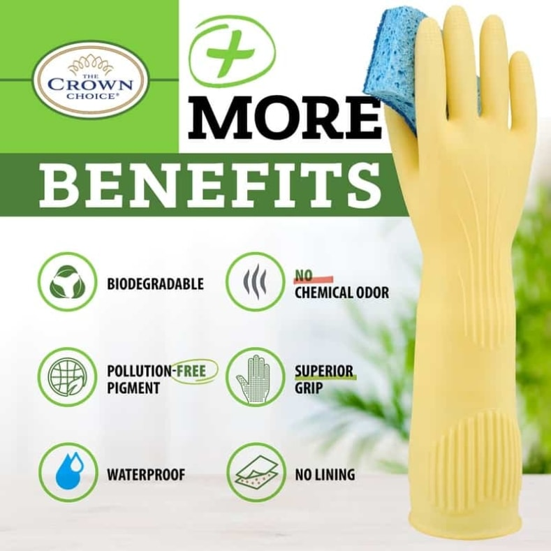 Long Biodegradable Latex Soft Rubber Gloves — Long and Thick All Purpose for Cleaning, Dish Washing and Hand Protection 8