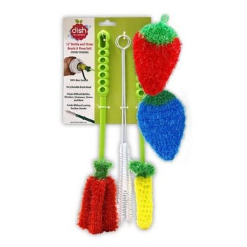 dish scrubbie bottle brush cleaner set strawberry blueberry