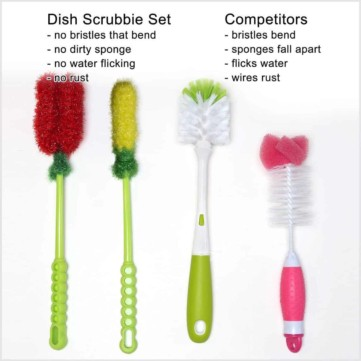 Dish Scrubbie Long Bottle Brush Cleaner Set (3-in-1) with Two Straw Brushes