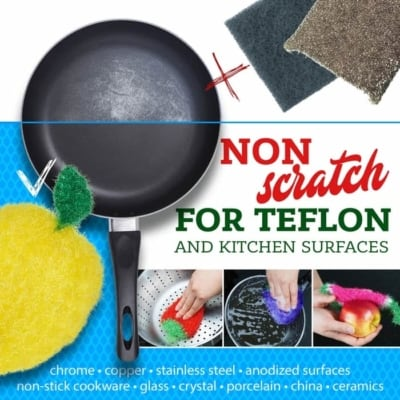 non-scratch safe kitchen sponge alternative dish scrubbie