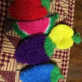 Eggplant Dish Scrubbie - Vegetable crocheted purple scrubby 8