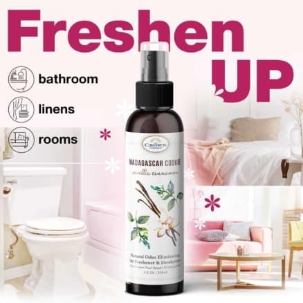 MADAGASCAR COOKIE Natural Home Spray and Room Air Freshener (Vanilla Cinnamon) | Odor Eliminator Neutralize Bathroom Odors