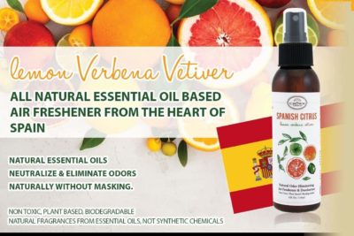 SPANISH CITRUS Natural Room Deodorizer Spray Air Freshener (Lemon Verbena Vetiver)