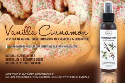MADAGASCAR COOKIE Natural Home Spray and Room Air Freshener (Vanilla Cinnamon)   Odor Eliminator Neutralize Bathroom Odors