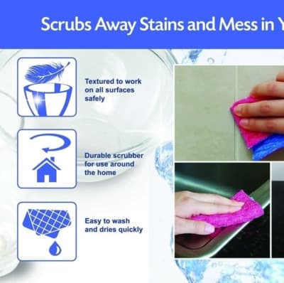 ODOR FREE Scrubber kitchen sponge alternative Pad for Dishwashing, Scrubbing, Cleaning   Scratch Free Scrubber