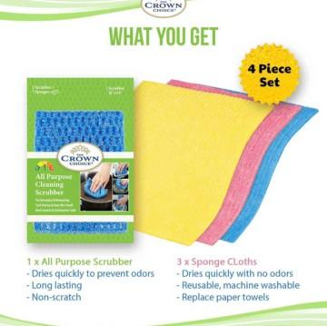 Sponge Cloth and All Purpose No Odor Dishcloth Set (4 Pcs)