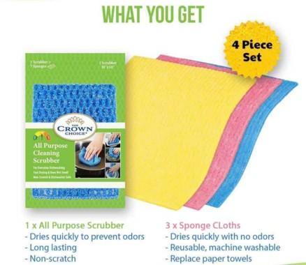 Paper Towel Alternative - Eco-friendly sponge cloth and all purpose cloth set (4 Pcs) 2
