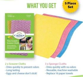 cellulose sponge cloth non scratch scouring set