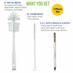 set of baby bottle cleaning brushes