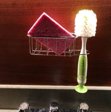 Best Kitchen Sink Caddy - Tidy your sink with this 2-in-1 in brush and kitchen sponge caddy 12