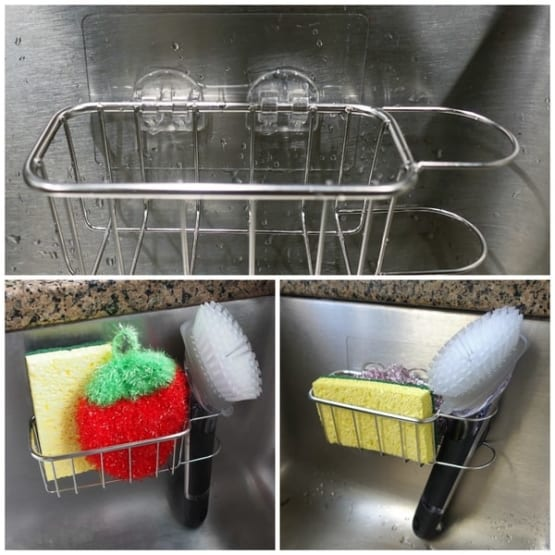 Best Kitchen Sink Caddy - Tidy your sink with this 2-in-1 in brush and kitchen sponge caddy 8