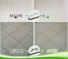grout brush before after tile