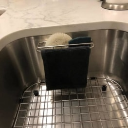 2-in-1 Kitchen Sink Caddy | Sponge + Dish Cloth Hanger Combo | Stainless Steel Uses Strong Adhesive 8