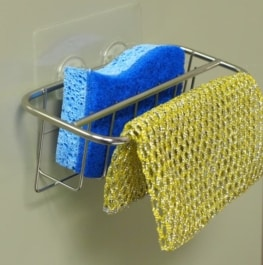 2-in-1 Kitchen Sink Caddy | Sponge + Dish Cloth Hanger Combo | Stainless Steel Uses Strong Adhesive 6