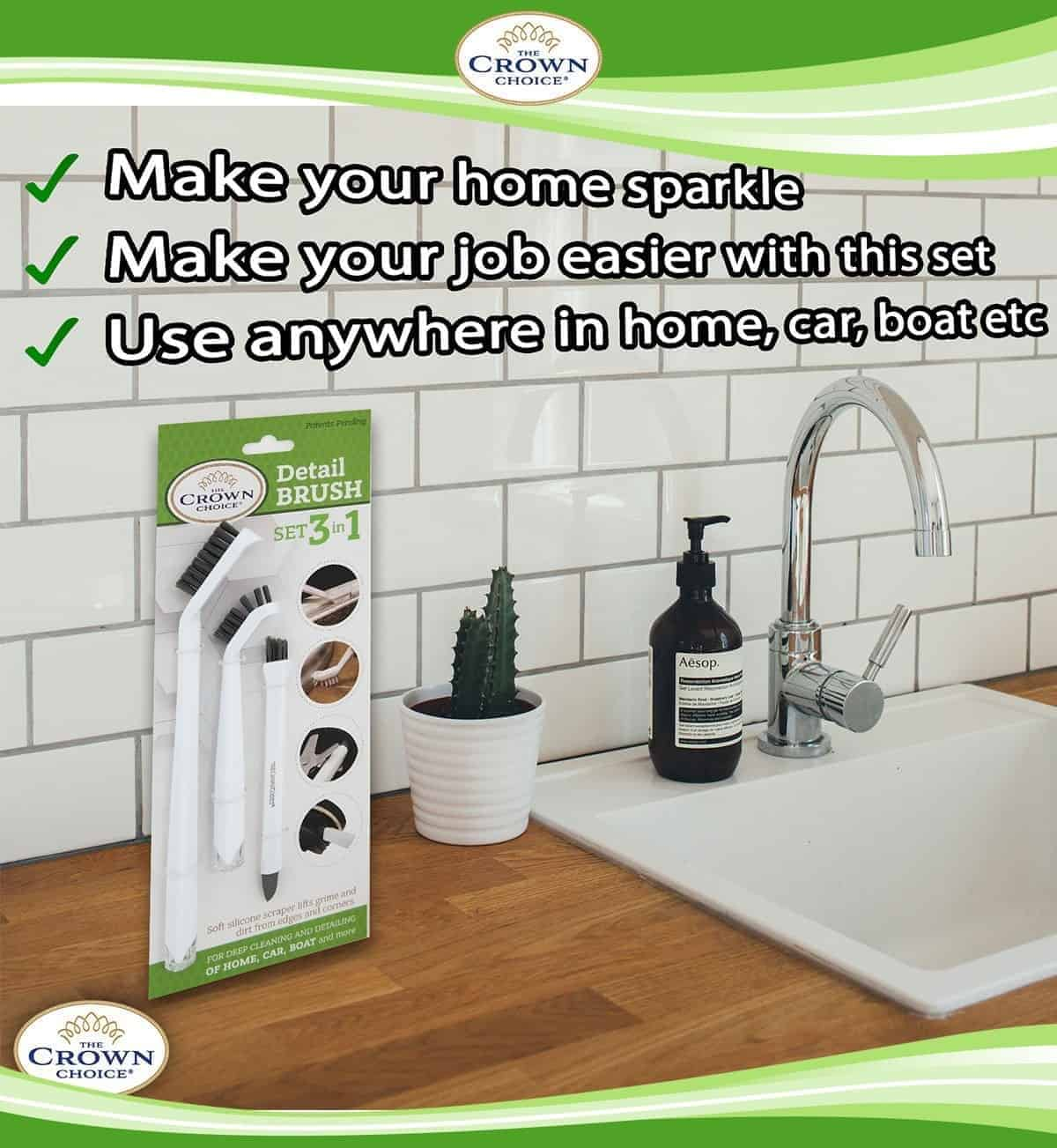 Buy Online Long Handle Scrub Brush Best 3 In 1 Brush For Shower Cleaning Tiles And Deep Clean Brush The Crown Choice Free Shipping