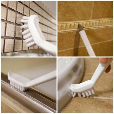 3-in-1 Cleaning Brush Supplies to Deep Clean Tile Lines, Detail Kitchen, Scrub Bathroom, Shower