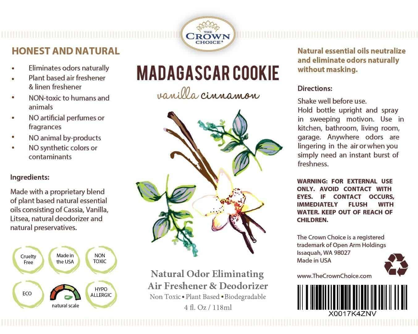 Natural Bathroom Freshener that eliminates odors with natural ingredients - MADAGASCAR COOKIE 5