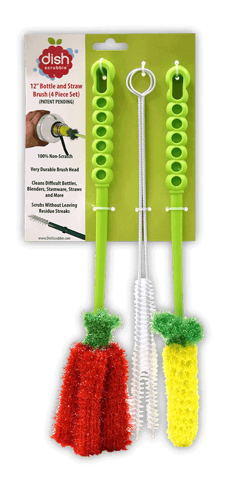 Water Bottle Brush by Dish Scrubbie (3-in-1 Set with Two Straw Brushes)