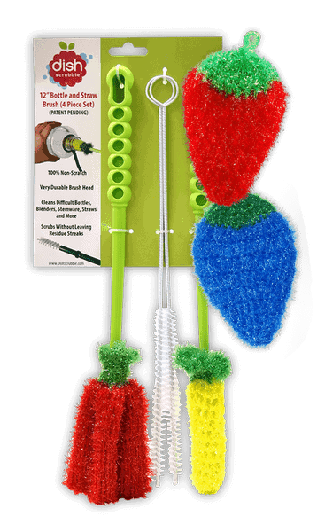 dish scrubbie bottle brush set strawberry blueberry