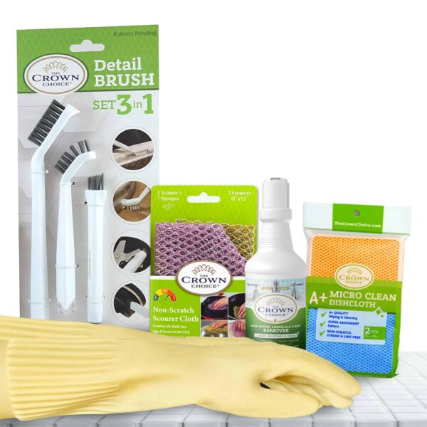 Hard Water Stain Remover and Non Scratch Scourer - Microfiber Cloth - Gloves and Detail Brush Set 1