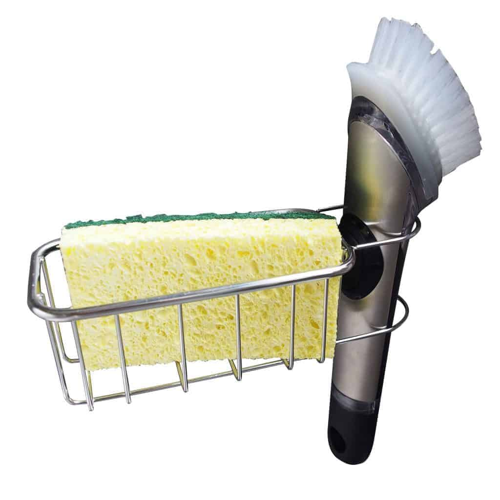 2-in-1 In Sink Sponge Holders and Brush Sink Caddy   Detachable Stainless Steel Strong Adhesive