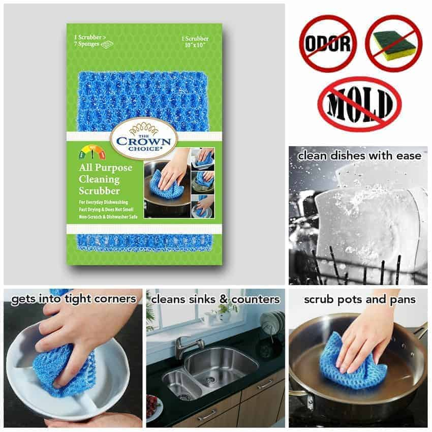All Purpose Dish Cloth - NO Mildew Odor from Dish Cloths, Sponges, Scrubbers, Wash Cloths