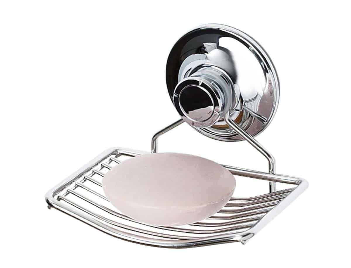 PATENTED Suction Soap Dish Holder for Shower, Bathroom, Tub | Stainless  Steel Bar Soap Holder Saver Tray
